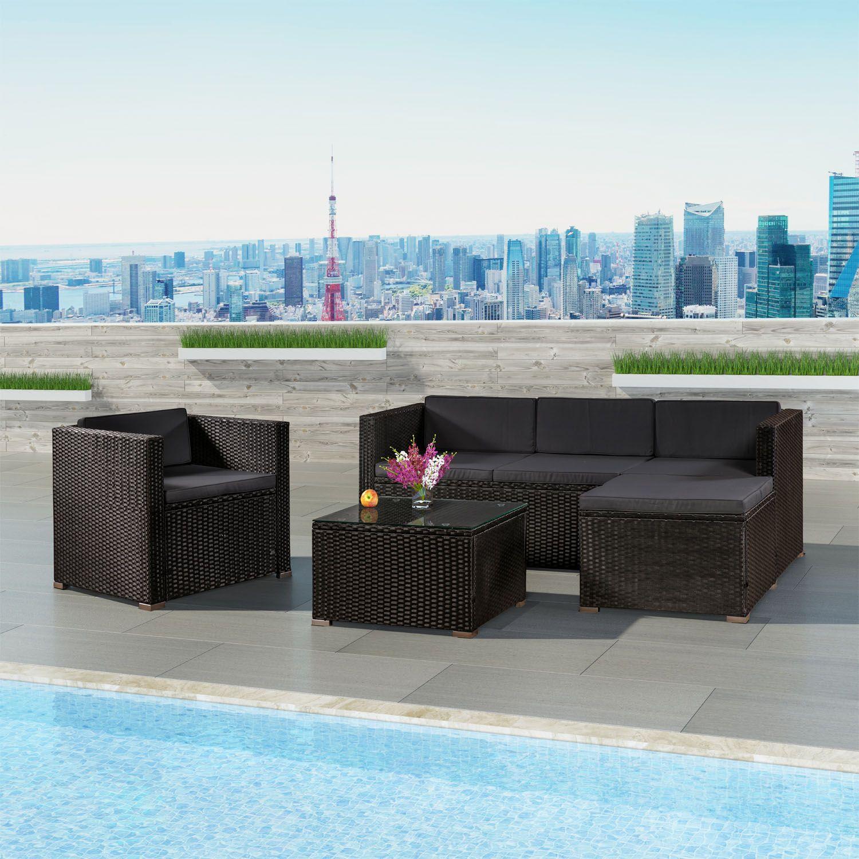 Rattan lounge schwarz grau  Gartenlounge schwarz & grau ✓ Lounge-Set inkl. Ecksofa, Sessel ...