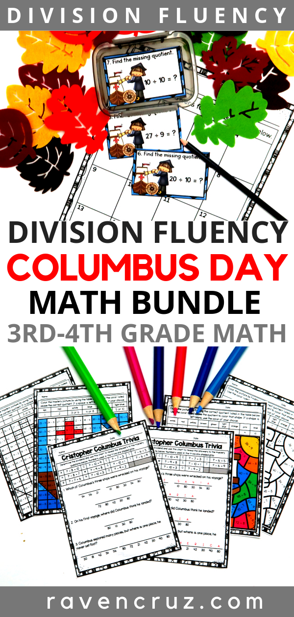 Columbus Day Math Division Bundle For 3rd 4th Grade In 2020 Elementary Math Centers Elementary Math Lessons Homeschool Math