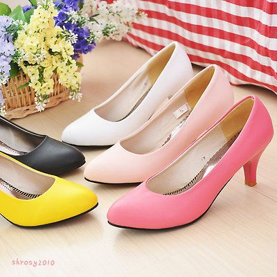 Women's Comfort Flower Mid Heels Pumps Party Pointed Toe Shoes US ALL Size D187[Yellow,5.5]