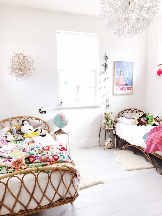 A little big child's room for wanderlust kids inspiration with a touch of  vintage in this bedroom from my cakies
