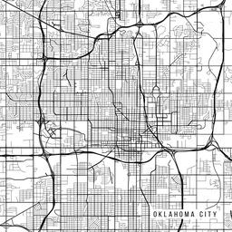 Oklahoma City Map, USA Oklahoma - Black & White | vector map ...