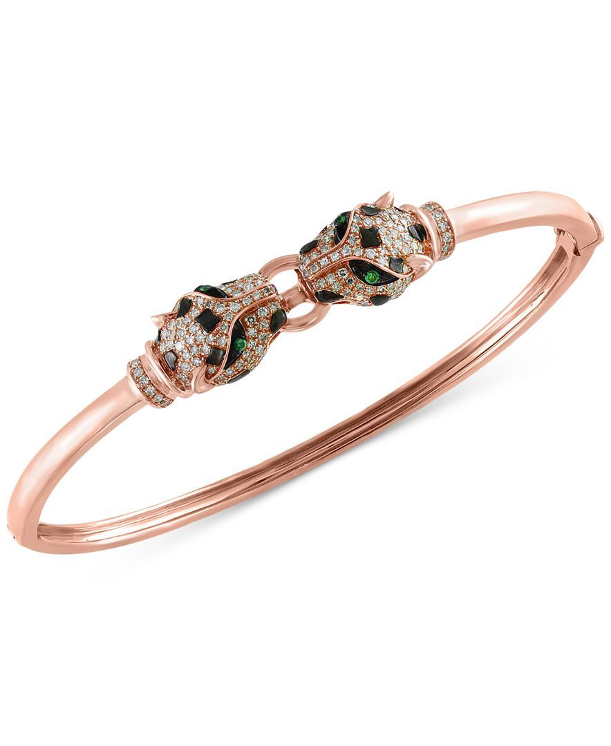 Effy diamond ct tw and tsavorite accent bangle bracelet in