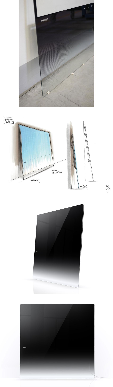 Philips DesignLine TV  Frameless sheet of glass with soft black-to