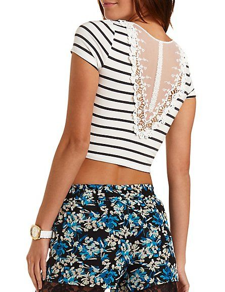 Lace-Back Striped Crop Top: Charlotte Russe #croptop