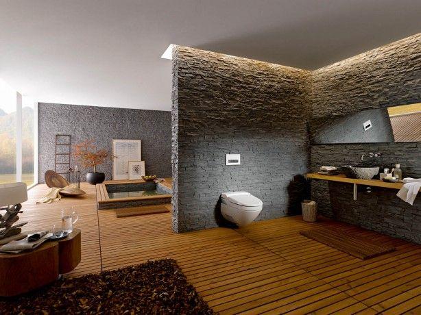 Wellness badkamer. Steenstrips op de muur | Apotheek | Pinterest