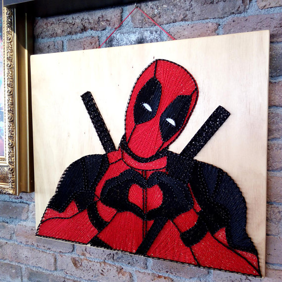 Superhero String Art Deadpool Wall Gallery Decor Art Black and Red Nursery movie Wall Kids Room Wall Art Gifts Art Avengers Art Gift for Him