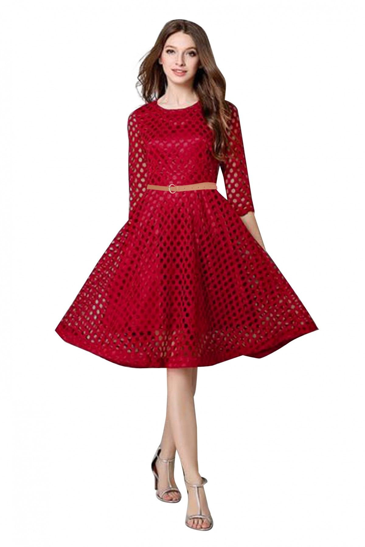 79ab65d113 This Pure Lace Maroon Colour Dress Is The Fun Attire Of The Moment. Get It