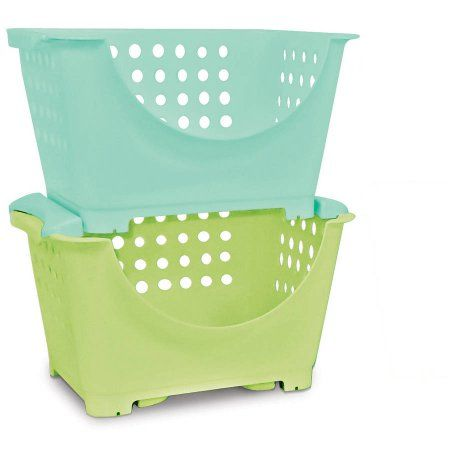 Lovely Homz Stackable Storage Bins For Kids, Set Of 6, Multiple Colors, Blue