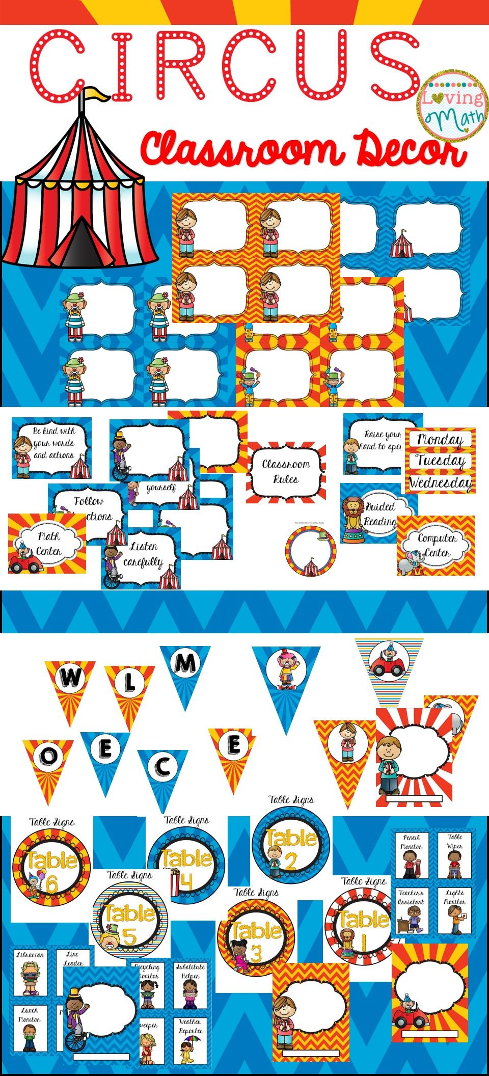 Editable Classroom Decor ~ Circus theme classroom decor editable pinterest