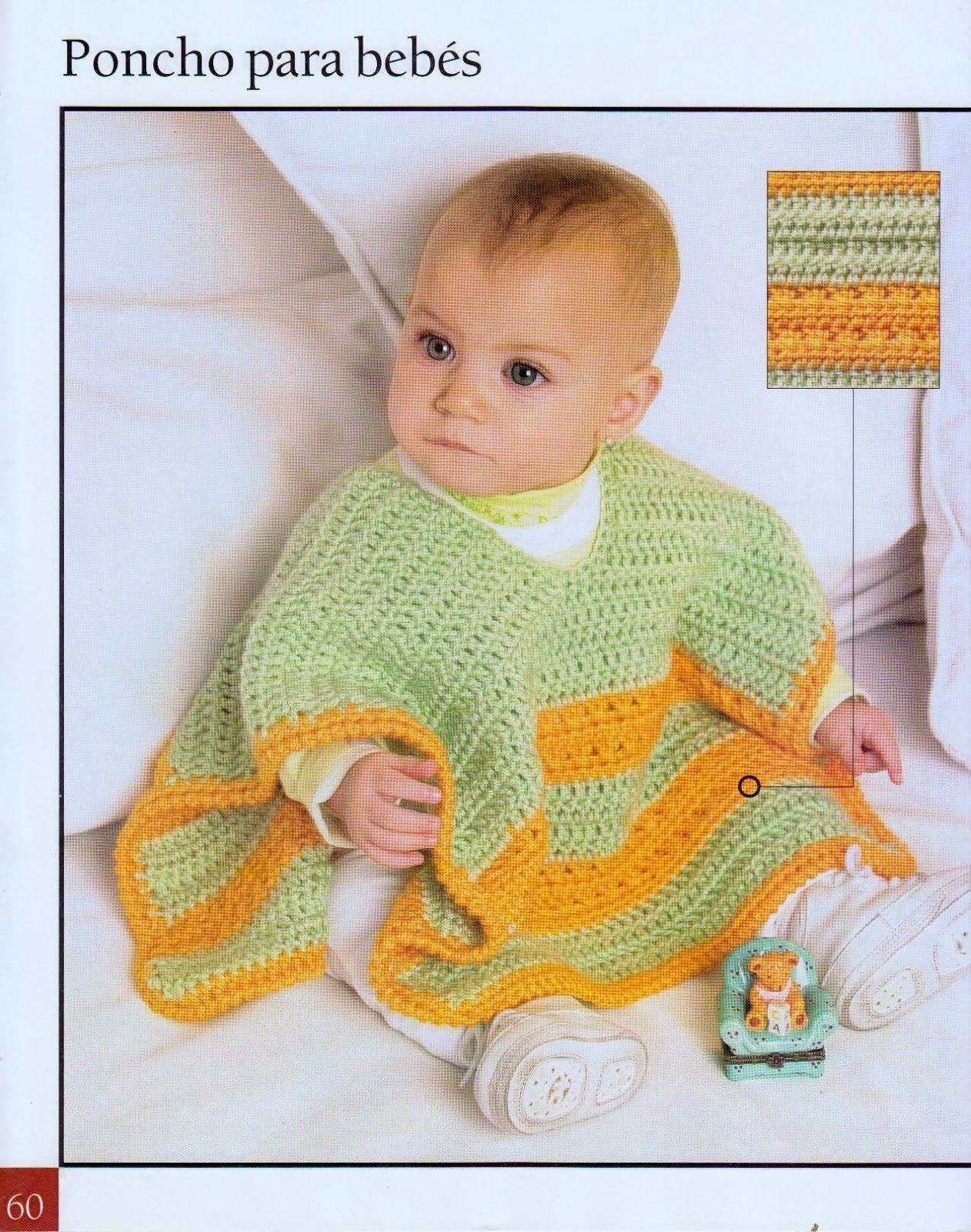 PONCHO PARA BEBÉS A CROCHET | Crochet | Pinterest | Poncho para bebé ...
