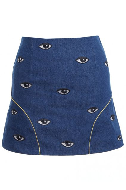 ROMWE | Eye Embroidered Blue Bodycon Skirt