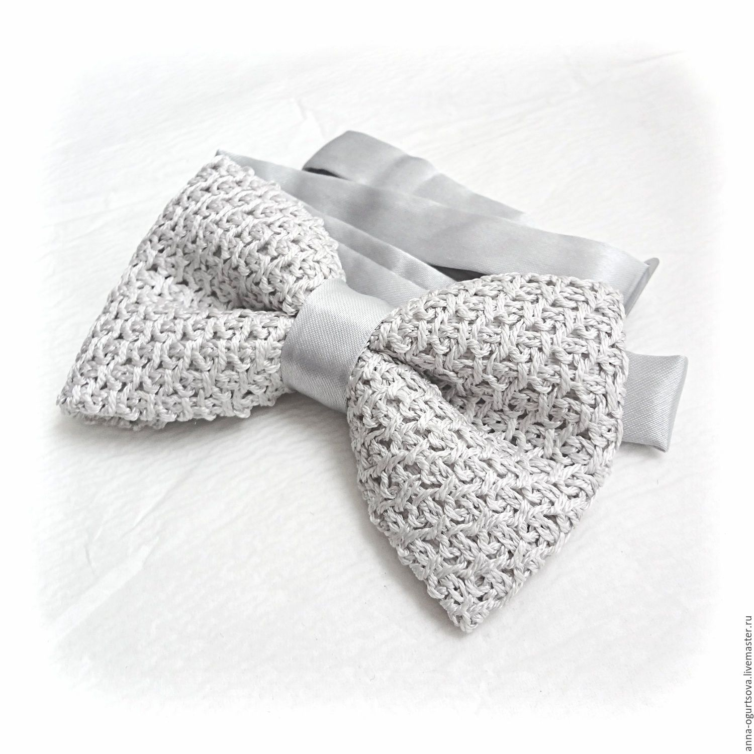 Crochet Silver Grey Bow Tie for Men, Men\'s Bowtie, Knitted Bow Tie ...