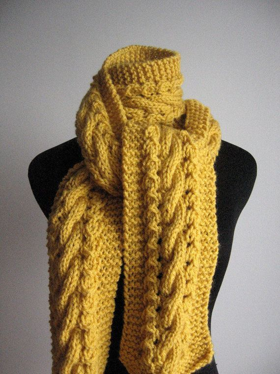 Photo of Hand Knit Scarf Yellow Cable and Lace Scarf The Stef Scarf