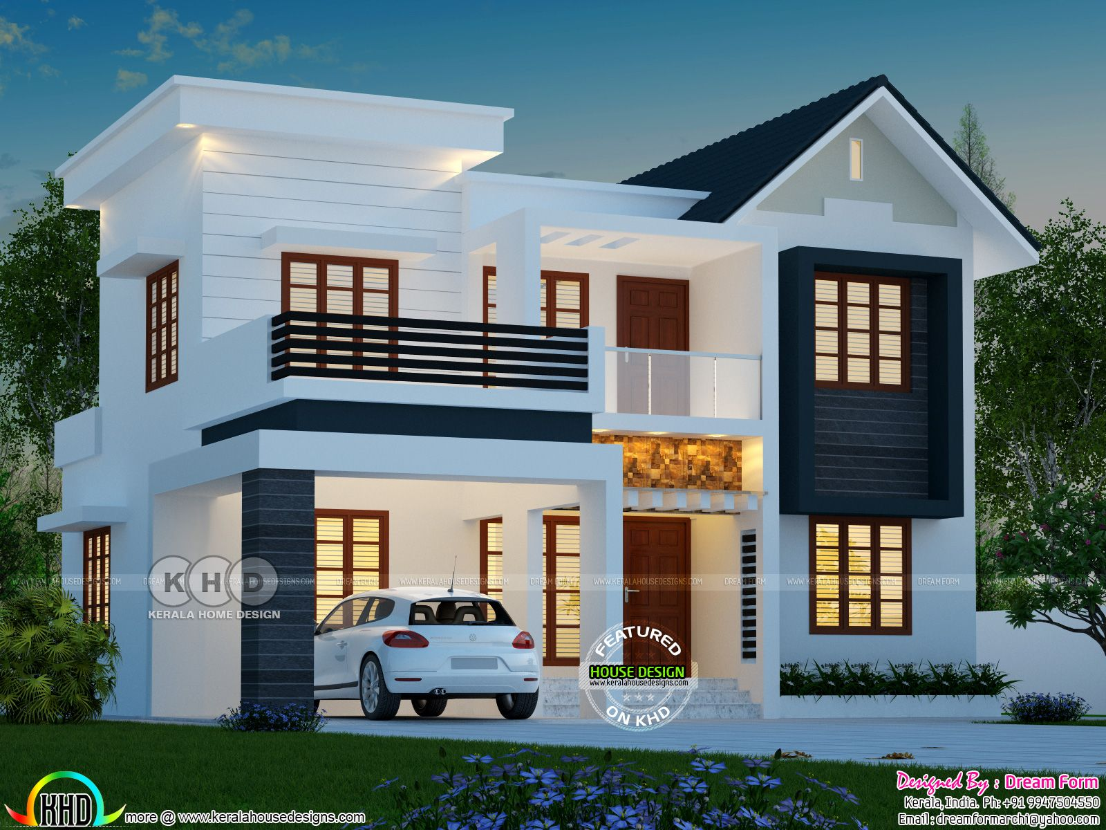 4 Bhk 1763 Square Feet Modern House Plan Kerala House Design Duplex House Design 2 Storey House Design