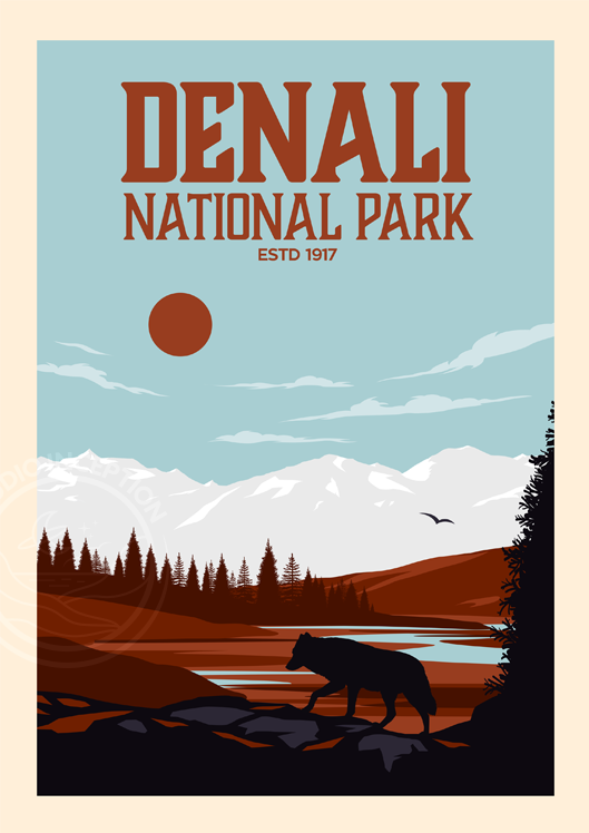 Denali National Park Poster Traditional Style Established Edition National Park Art Print By Studio Inception Unframed In 2020 National Park Posters Park Art Vintage Poster Design