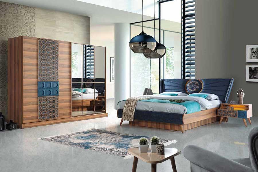 Celmo Havana Yatak Odasi Takimi Ceviz Mavi اطفال Bedroom
