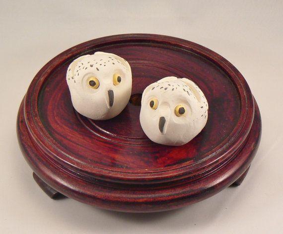 Handmade Ceramic Minature Snowy Owl Whistle by BellaTerraCeramics