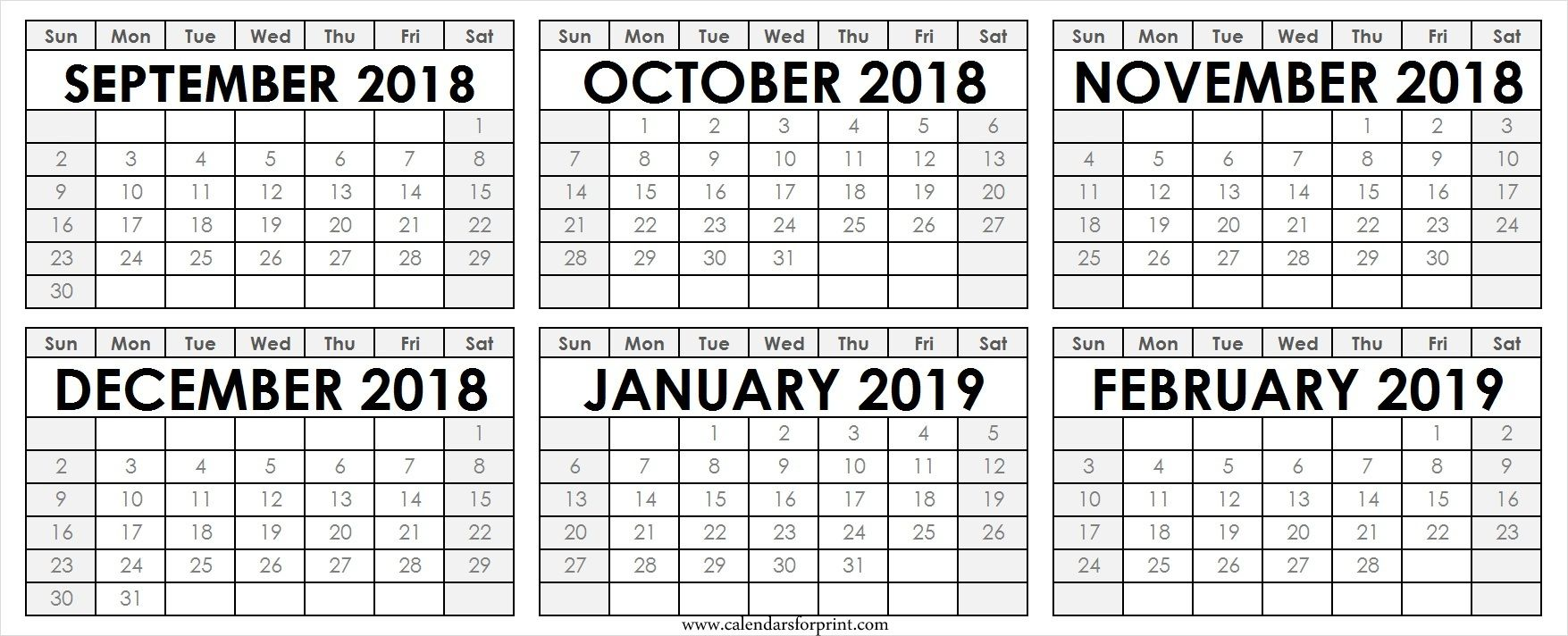 Calendar September October November December 2018 January February