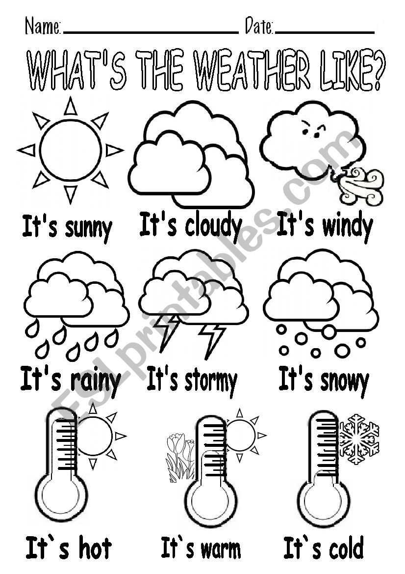 WHAT´S THE WEATHER LIKE? worksheet Actividades para