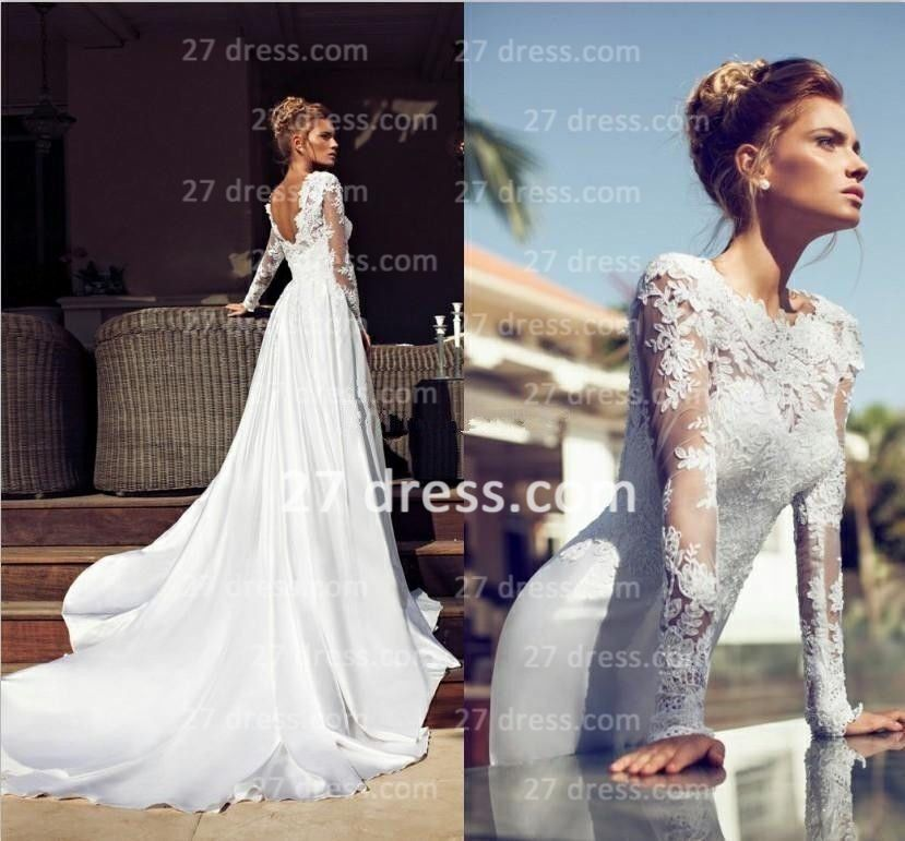 27dress com custom made 2014 Sexy Jewel Sheer Long Sleeves Wedding Dresses  Backless Lace Applique27dress com custom made 2014 Sexy Jewel Sheer Long Sleeves Wedding  . Long Sleeve Backless Wedding Dresses. Home Design Ideas