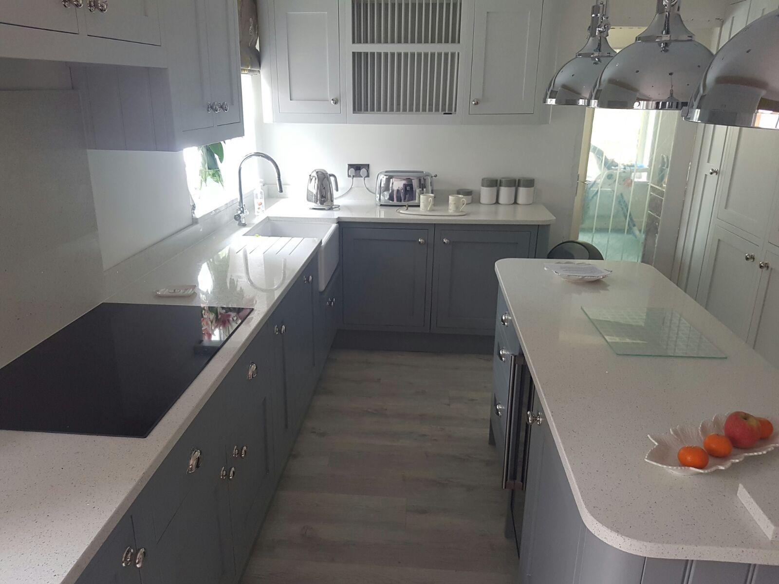 White Sparkle Quartz Worktops Upstands Kitchen