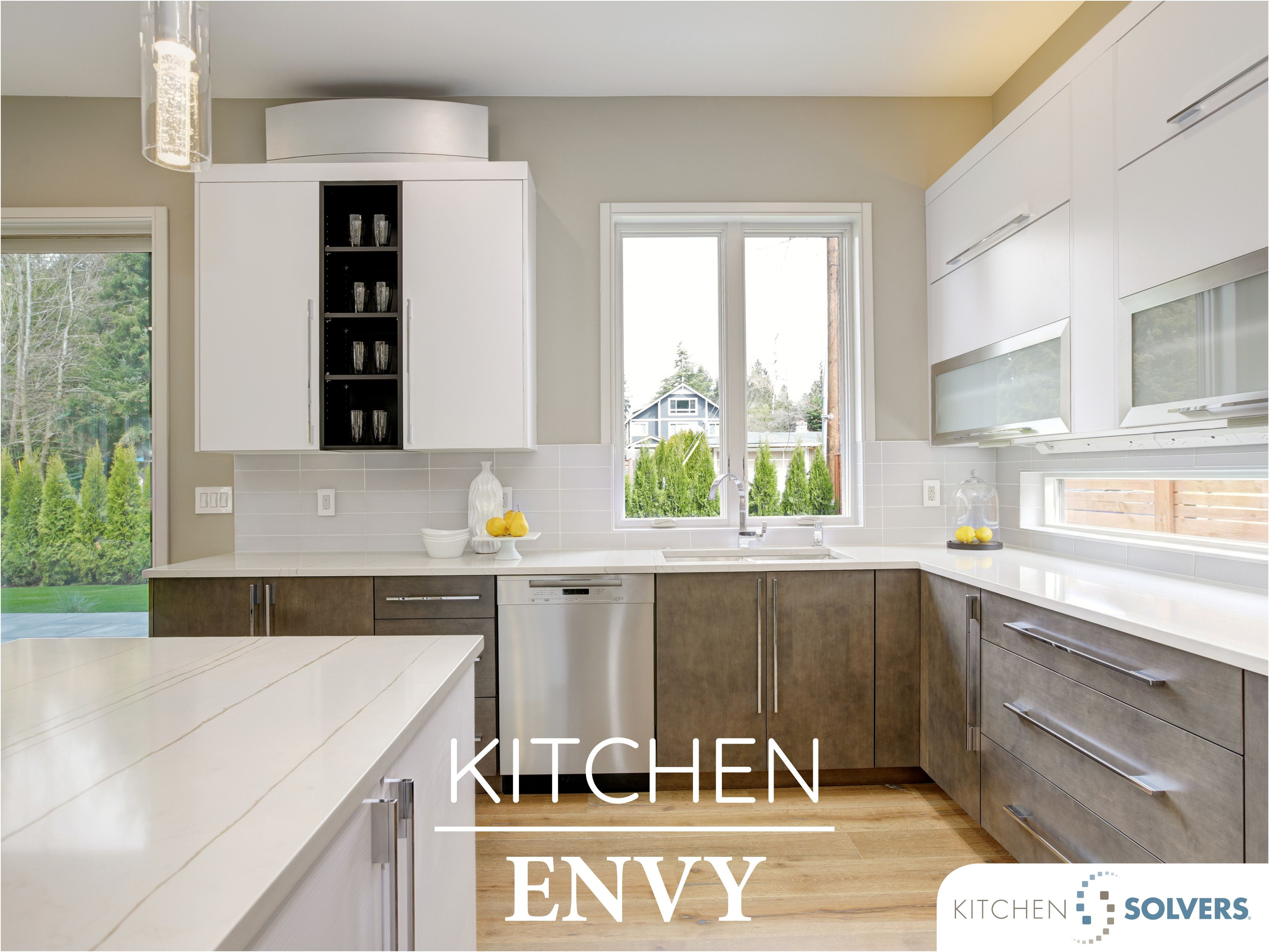 Impeccable Pairs This Two Toned Kitchen Has A Combination Of Two Colors Two Text In 2020 Country Kitchen Cabinets Stock Kitchen Cabinets Kitchen Cabinets And Granite