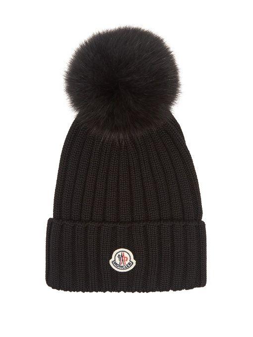 19f972d865e Ribbed-Knit Beanie Hat W Fur Pompom