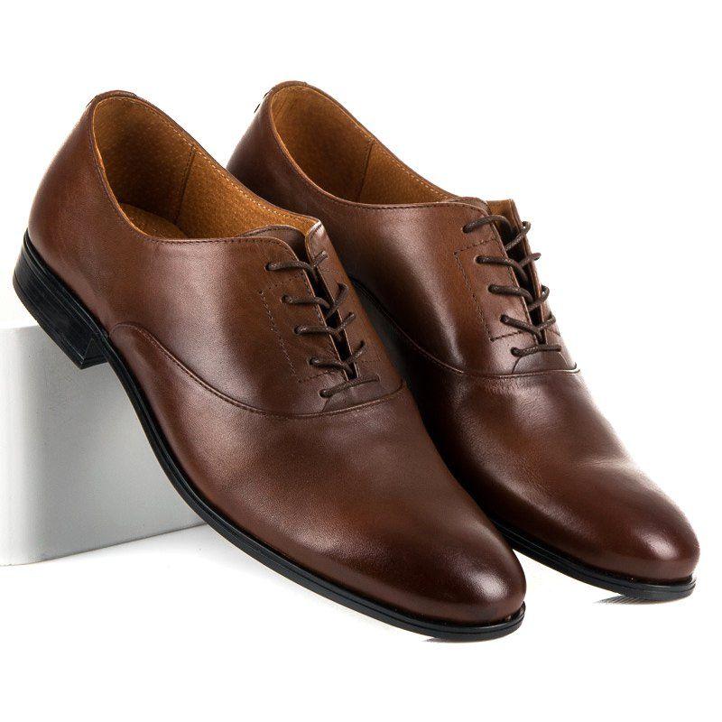 Polbuty Meskie Lucca Brazowe Skorzane Polbuty Oxfordy Lucca Dress Shoes Men Oxford Shoes Men Dress