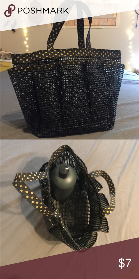Rubber shower caddy Black with yellow polka dots shower caddy ...