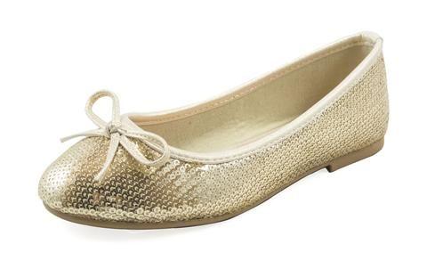 Light Gold Glitter Ballerina Slippers-  Girls