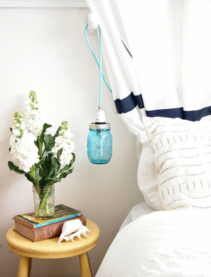 diy ideen einmachgläser hängelampe schlafzimmer blumen weiße - ideen für das schlafzimmer