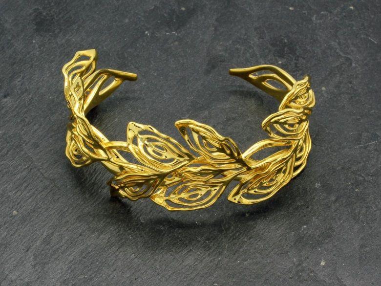 Gilt Laurel Cuff Bracelet Desmond Chan Art Nouveau Jewelry Vulcan