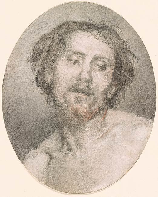 Edouard Brandon | Head of a Model, as Christ | Drawings Online | The Morgan Library & Museum