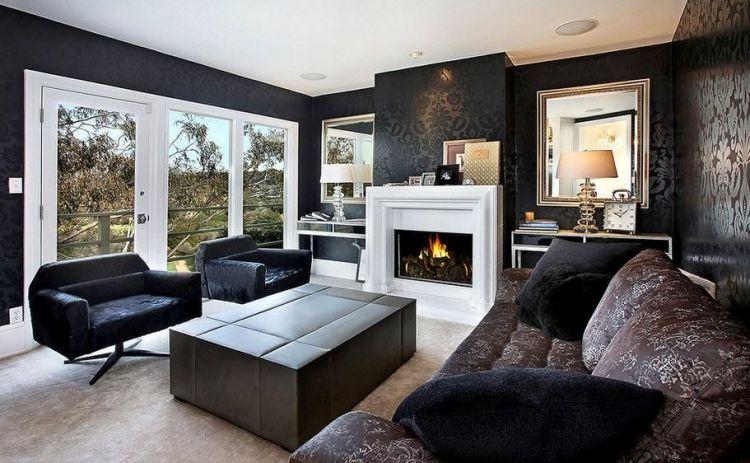 Décoration salon moderne en noir pour un intérieur chic et glamour