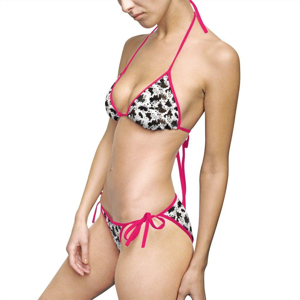 82aad14bc3b18 Miki Sexy Cow Print Designer Nylon Spandex 2-piece Light Fabric Women  –  Heidi