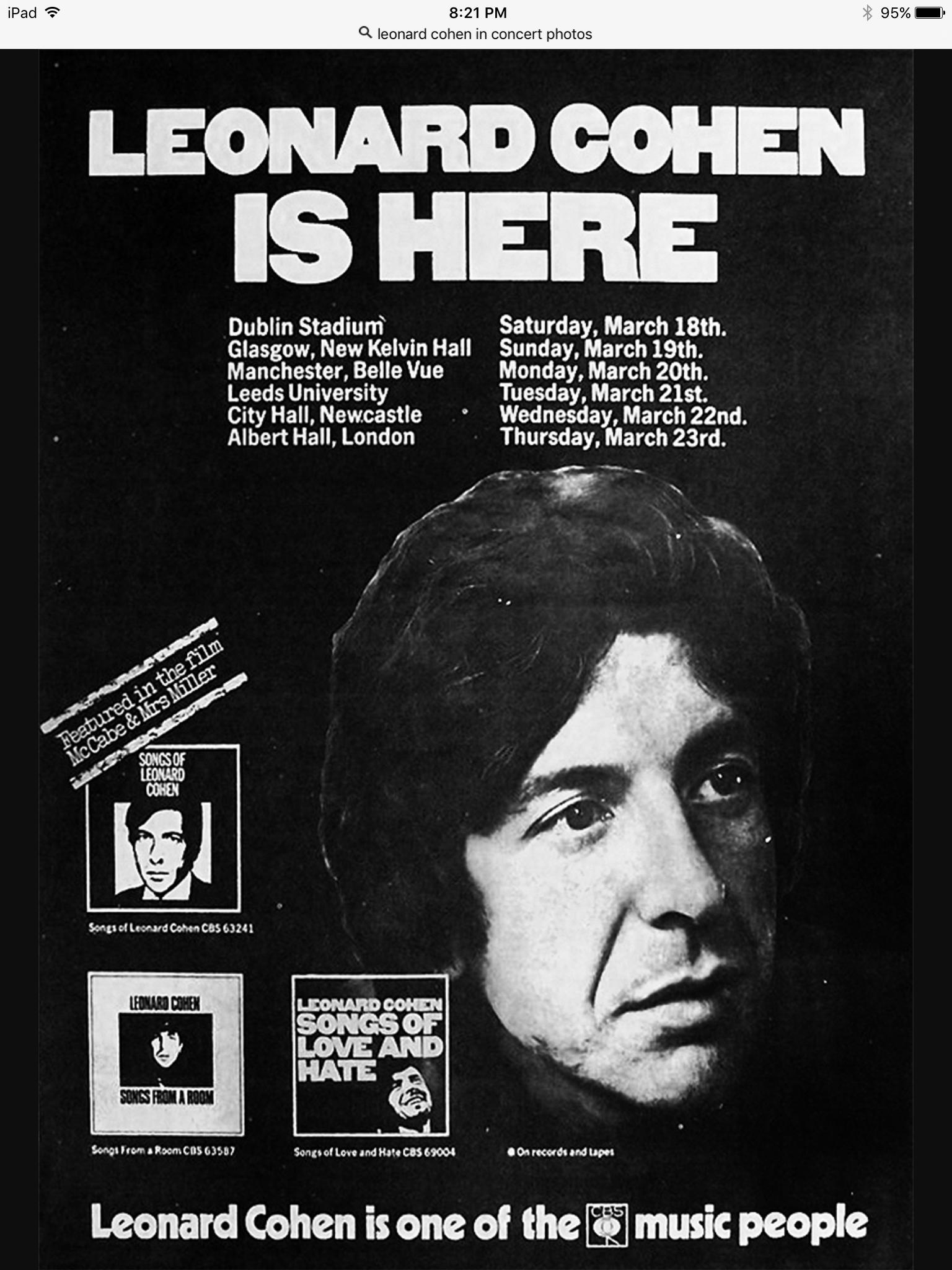 leonard cohen leonard concert posters