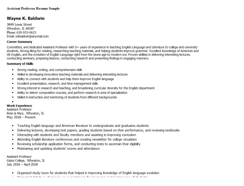 Assistant Professor Resume Sample Resume, Student jobs