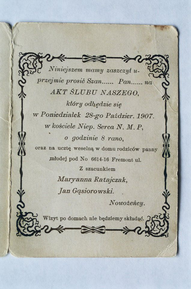 An invitation to a Polish wedding from 1907