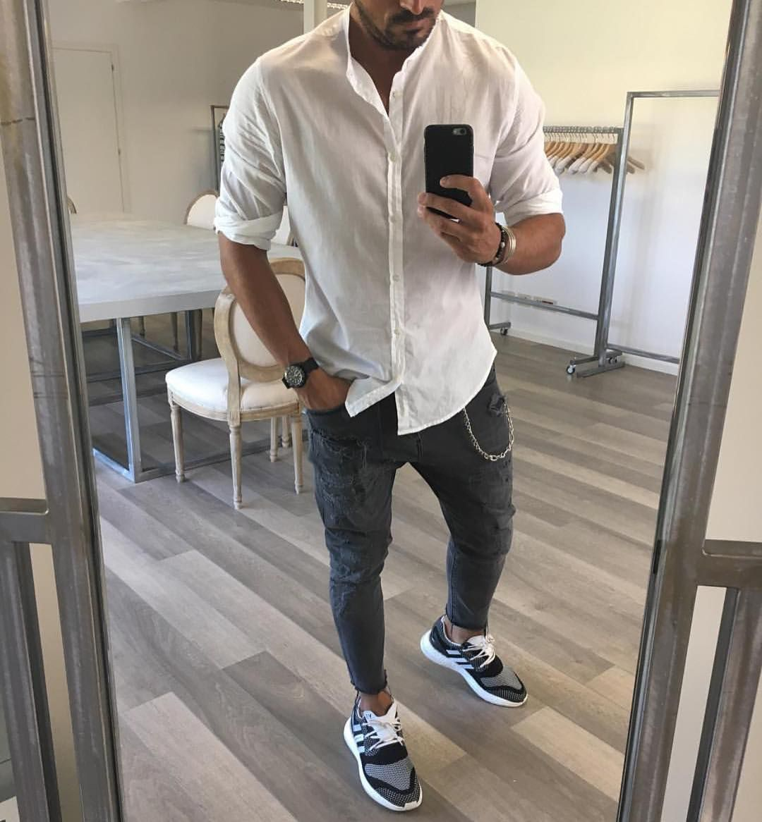 #mandarincollar white shirt distressed jeans and sneakers by @vincenzoragnacci [ http://ift.tt/1f8LY65 ]