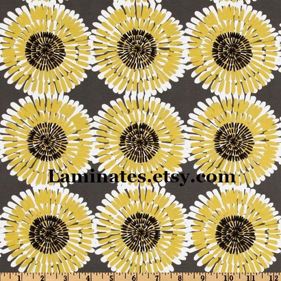 Daisies On Gray LAMINATED Cotton Fabric WIDE By Laminates On Etsy, $13.98