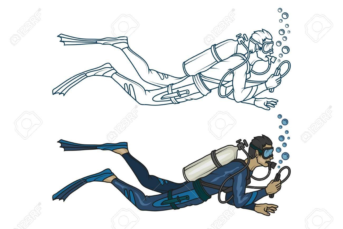 Scuba Diving Vector Diver Character Sponsored Diving Scuba Vector Character Diver Aquatic Tattoo Dove Sketches Art