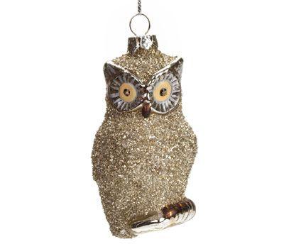 Silver Glitter Owl Ornament