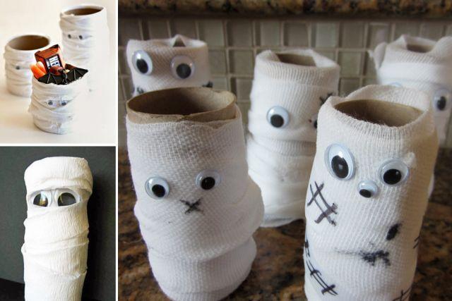 bricolages d 39 halloween avec des rouleaux rouleaux de papier de toilette papier toilette et momie. Black Bedroom Furniture Sets. Home Design Ideas
