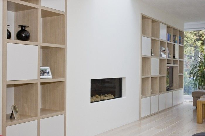 haard met kastenwand   Google Search   Open haard idee u00ebn   Pinterest   Fire places, Shelving and