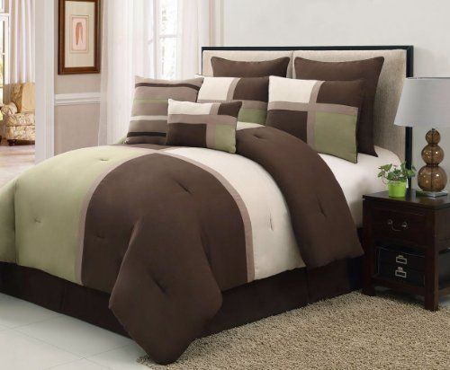 8 Pieces Luxury Suede Patchwork Bedding Sage Greenbrowntan Bed In