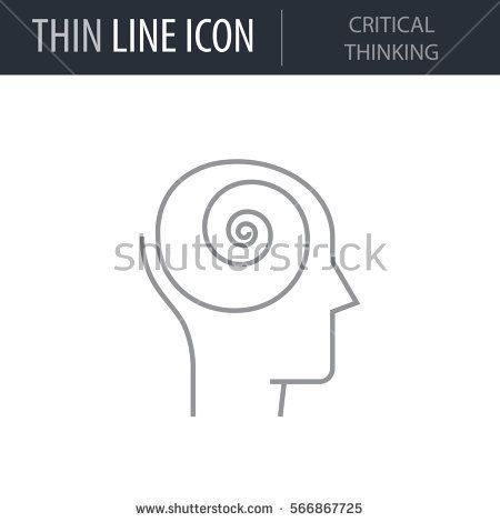 Symbol Of Critical Thinking Thin Line Icon Of Human Personality And