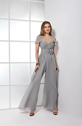Demetrios Evening Style E142 by Demetrios - Chiffon Pantsuit with a Ruched b68590c74b6