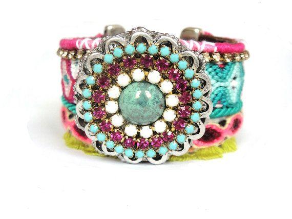 Friendship bracelet in bohemian hippie style  Hot by OOAKjewelz