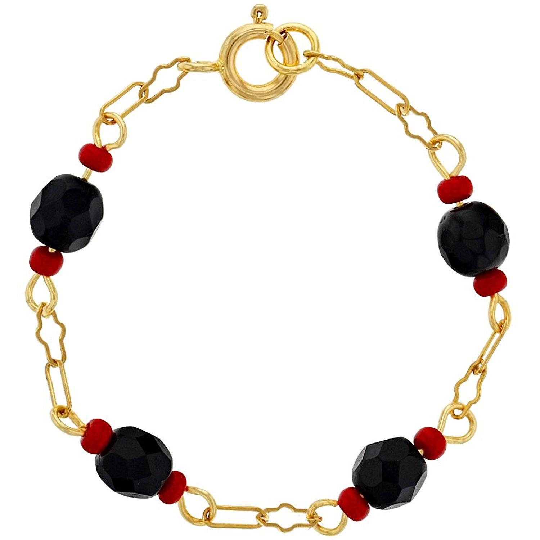 Amazon.com: 18k Gold Plated Simulated Azabache Evil Eye Bracelet ...