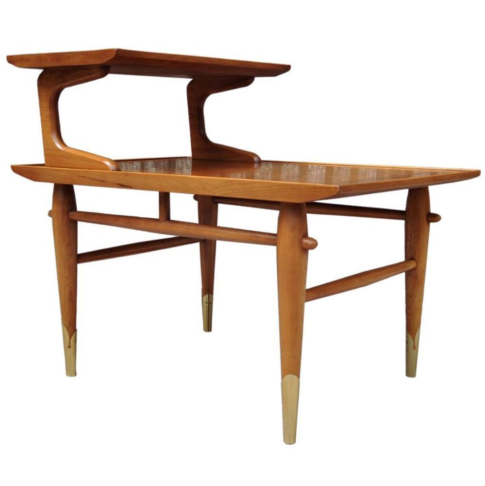 Vintage Danish Style Mid Century Modern Lane Step Up Two Tier Side End Table
